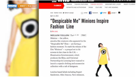 "Fashion designs jump on the ""Minion Yellow"" trend."