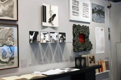 Exhibition area displaying many different creative approaches to the art of the book.