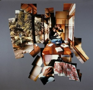 Hockney plays with scale, perspective and the shape of his overall collage in this