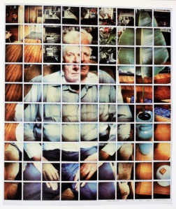 Hockney captures the man's face and body from various angles and leaves white space between the polaroids in this collage.